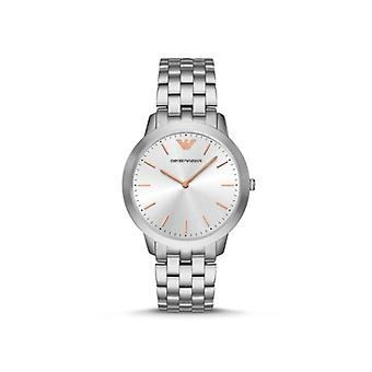 Emporio Armani reloj de caballero plata pulsera enlace oro rosa índice Ar2484