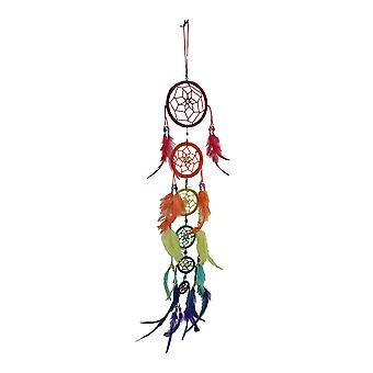 Rainbow Row 6 Tier Colorful Beaded Feather Dreamcatcher