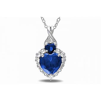 Affici Sterling Silver Pendant with Chain 18ct White Gold Plated  ~ Double Heart Blue Sapphire CZ Gems