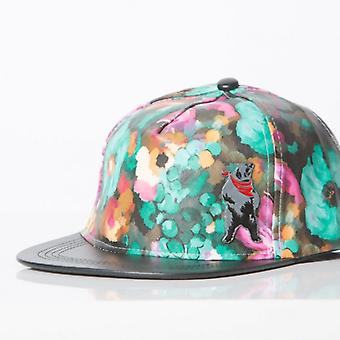 Polar whites flower print faux leather snapback
