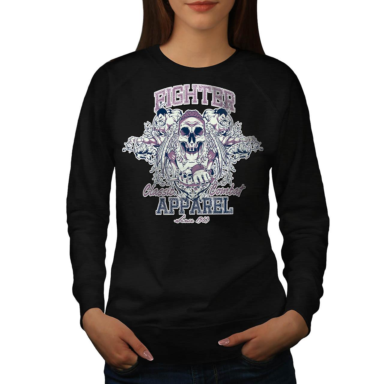 Fighter Skull Vintage Women Black Sweatshirt | Wellcoda