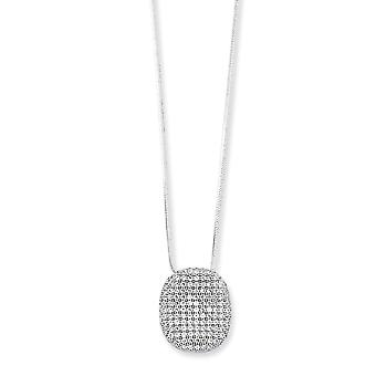 Sterling Silver and Cubic Zirconia Polished Necklace - 18 Inch