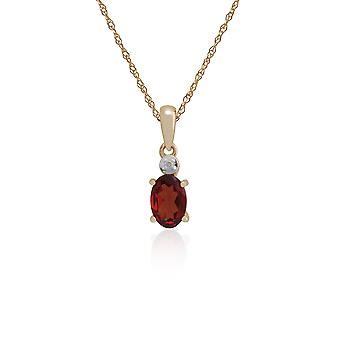 Gemondo 9ct Yellow Gold 0.55ct Garnet & Diamond Oval Pendant on 45cm Chain