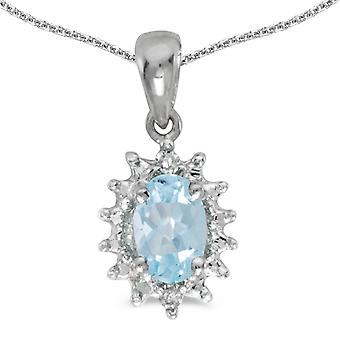 10k White Gold Oval Aquamarine And Diamond Pendant with 16