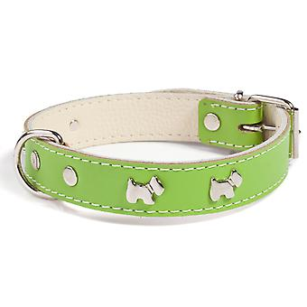 Doggy Things Westie Leather Dog Collar Green 50cm