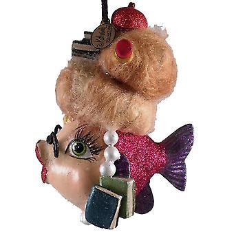 School Teacher Kissing Fish Christmas Ornament Pink Fushia