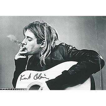 Kurt Cobain & Guitar large fabric poster / flag 1100mm x 750mm (hr)