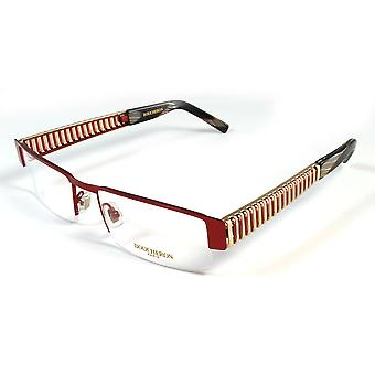 Boucheron Unisex Slim Rectangular Eyeglasses Red/Gold