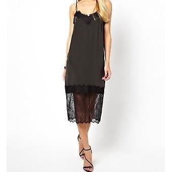 Ex Asos Women's Velvet Violet Cami Dress With Lace Trim UK SIZE 8