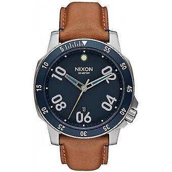 Nixon The Ranger Leather Watch - Navy/Saddle