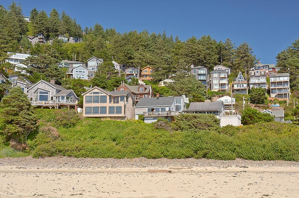 Oceanside township on a hillside Oregon Coast Tillamook County Oregon USA Poster Print by Panoramic Images (36 x 24)