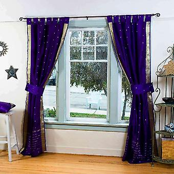 Indo Purple Tab Top Sari Sheer Curtain (43 in. x 84 in.) with matching tieback