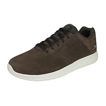 Skechers Go Walk City Retain Mens Suede Walking Trainers / Shoes - Brown
