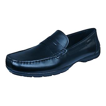Geox U Monet W 2FIT D Mens Leather Moccasins Shoes - Black