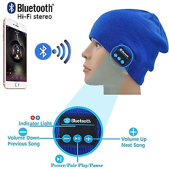 ONX3 (Blue) Unisex One Size Winter Beanie Hat with Built-in Wireless Stereo Speaker Headphone For  Sony Xperia L2