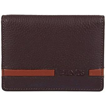 Dents Pebble Grain Leather Flap Over Card Case - Chocolate/English Tan