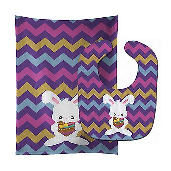 Easter Rabbit with Chocolate Heart Baby Bib & Burp Cloth
