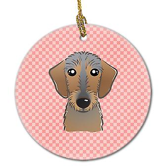 Checkerboard Pink Wirehaired Dachshund Ceramic Ornament