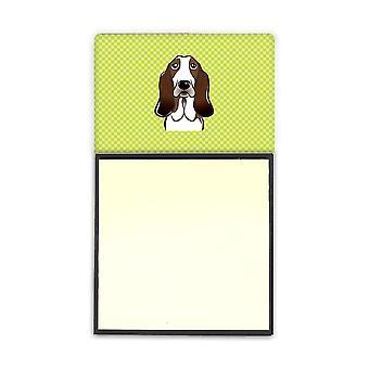 Scacchiera calce verde Basset Hound Refiillable note di Sticky Note titolare o No Postit