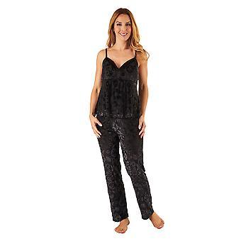 Slenderella GL8712 kvinners svart Floral pyjamas Pyjama sett
