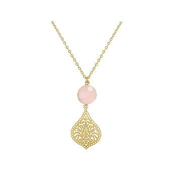 GEMSHINE ladies necklace with mandala and Rose Quartz gemstone. Rose gold 45 cm necklace or pendant made of silver, gold plated. Made in Madrid, Spain. In the elegant gift box.