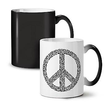 Peace Hipster Vintage NEW Black Colour Changing Tea Coffee Ceramic Mug 11 oz | Wellcoda