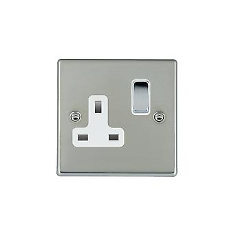 Hamilton Litestat Hartland Bright Stainless Chrome 1g 13A DP Switched Socket BC/WH