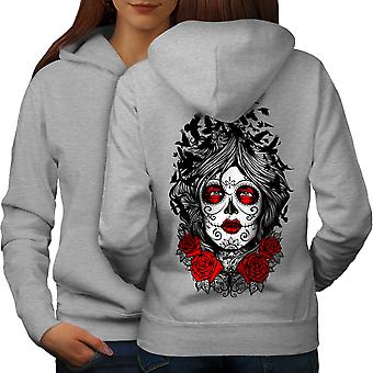 Face Girl Rose Art Horror Women GreyHoodie Back | Wellcoda