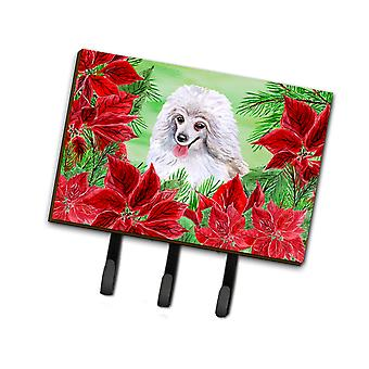 Medium White Poodle Poinsettas Leash or Key Holder