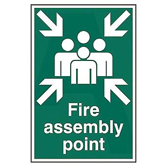 ASEC Green Fire Assembly Point 200mm X 300mm PVC Self Adhesive Sign