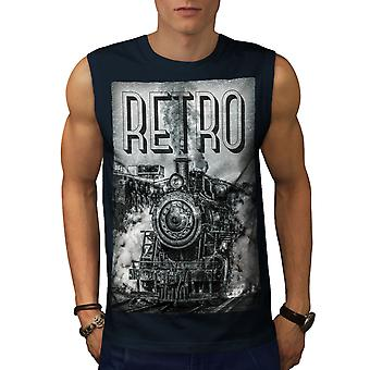 Retro Train Old Men NavySleeveless T-shirt | Wellcoda