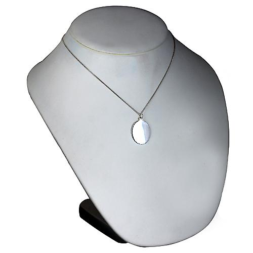 Silver 27x21mm diamond cut edge oval Disc with a Curb chain