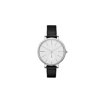 Skagen Skw2435 Hagen Silver & Black Leather Ladies Watch
