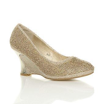 Ajvani womens meados salto wedge noite de diamante plataforma Tribunal de baile de casamento nupcial sapatos bombas