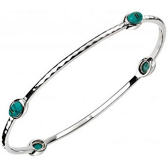 Beginnings Pressed Turquoise with Textured Pattern Bangle - Turquoise/Silver
