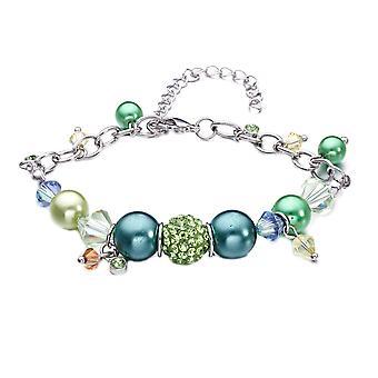 Bracelet Charm's Perles, Cristal de Swarovksi Elements Vert et Plaqué Rhodium