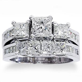 3 1/2ct Side Stone Diamond Ring Set 14K White Gold