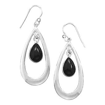Sterling Silver Polished French Wire Earrings With Black Simulated Onyx Drop