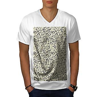 Notes Pattern Jazz Men WhiteV-Neck T-shirt   Wellcoda