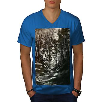 Dark Forest Photo Men Royal BlueV-Neck T-shirt | Wellcoda
