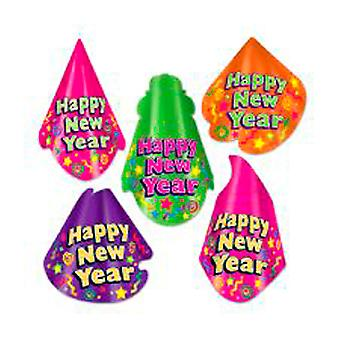 Assorted Colour-Bright Cardboard New Year Hats (Qty 10)