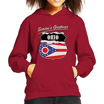 Seasons Greetings Ohio Kid's Hooded Sweatshirt