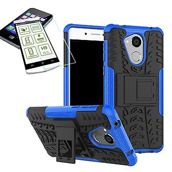 Hybrid Case 2teilig Blau für Huawei Honor 6C + Hartglas Tasche Hülle Cover Neu