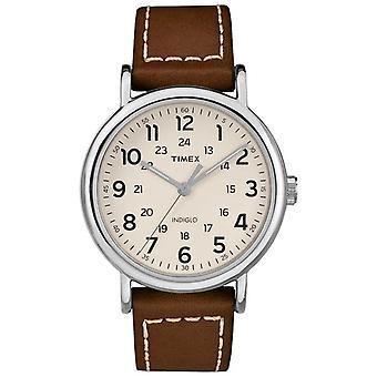 Timex Weekender męskie brązowy skórzany pasek do zegarka TW2R42400 Dial biały