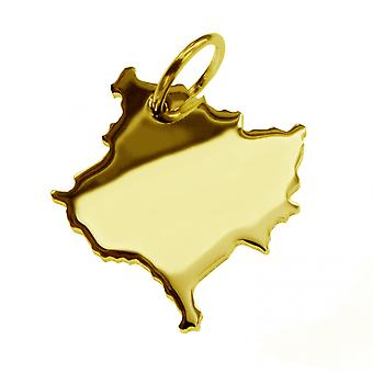Trailer map KOSOVO in massive 585 gold pendants