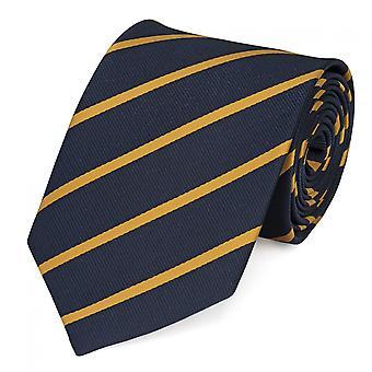 Cravatta cravatta cravatta 8cm che Farini Fabio blu scuro dorato zebrato