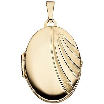 Medaljong ovale anheng 333 gull gul gull frostet delvis glitter striper gull medaljong