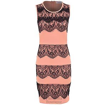 ee6bbf6a37b7 Damer ärmlös Zip tillbaka spets kontrast monteras Party kvinnors Bodycon  klänning
