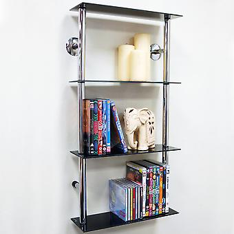 Maxwell - Wall Mounted Glass 90 Cd / 60 Dvd Storage Shelves - Black / Silver