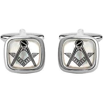 David Van Hagen Masonic placu spinki do mankietów - masa perłowa